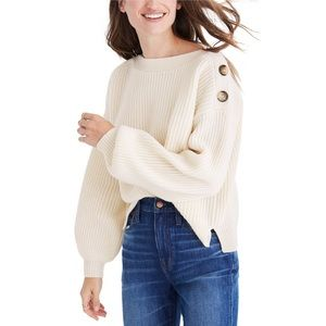 Madewell Boatneck Bubble Sleeve Sweater Small